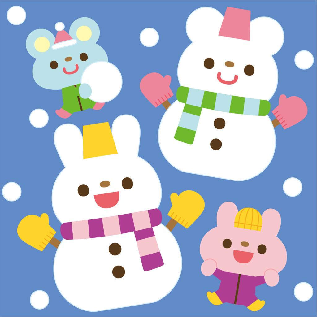 ポット1月号 壁面かざり案 「雪だるまを作ったよ」